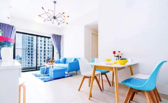 Blue Style Two Bedroom Apartment For Rent in Masteri Thao Dien District 2 HCMC
