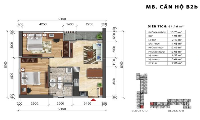 Two Bedrooms Charmington Iris Apartment For Sales  in District 4 HCMC